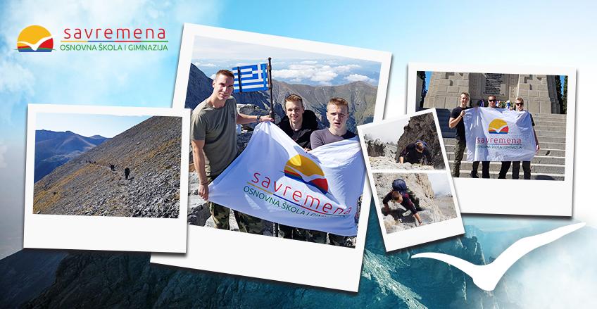 Učenici pokorili Olimp: Zastava Savremene osnovne škole i gimnazije se zavijorila na drugom najvišem vrhu Balkana!