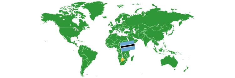 Bocvana na mapi sveta