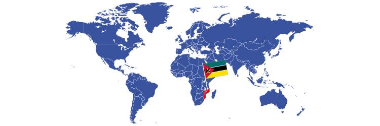 Mozambik na mapi sveta