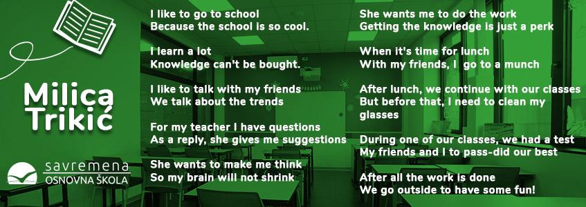 Milica Trikić je napisala pesmu o školi