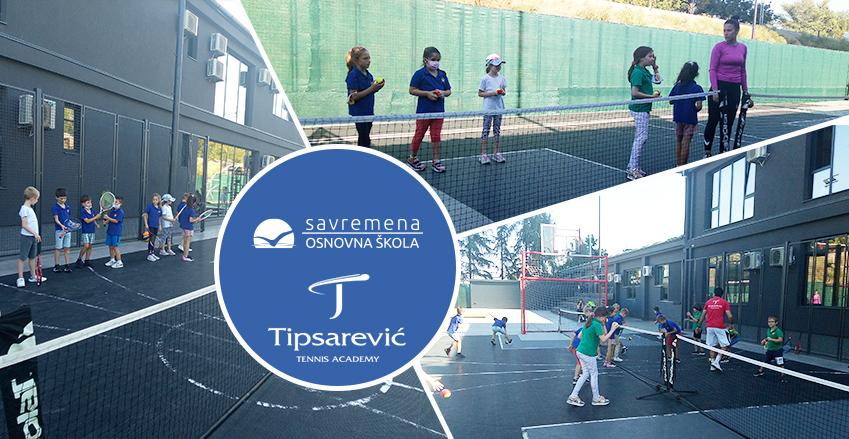 """Održan prvi čas tenisa Akademije """"Tipsarević"""" u Savremenoj osnovnoj školi"""